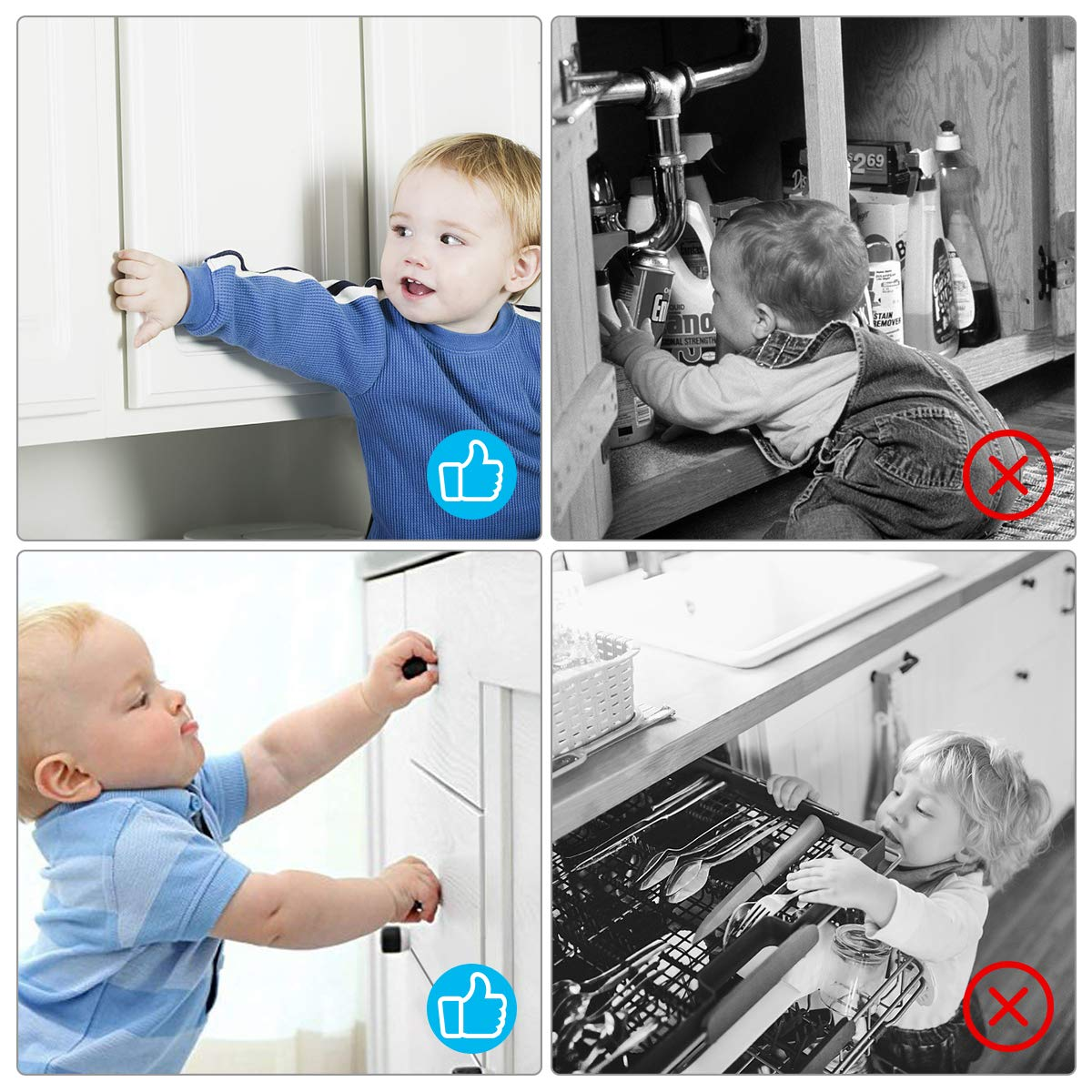 and No Tools Invisible Design with No Magnetic Keys to Lose 3M Drilling or Measuring Required LIUMY Baby Proofing Cabinets Lock and Drawers Latches//Easy Adhesive 12 Pack Child Cabinet Locks
