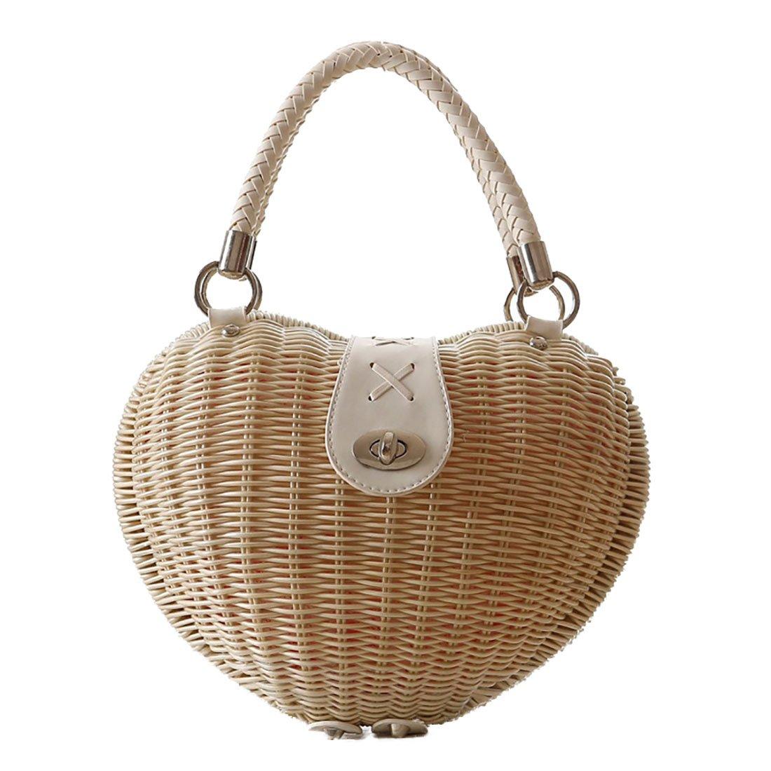 Bamboo bag Handmade Summer Beach bag for Women Mini Handbag Purse (Beige)