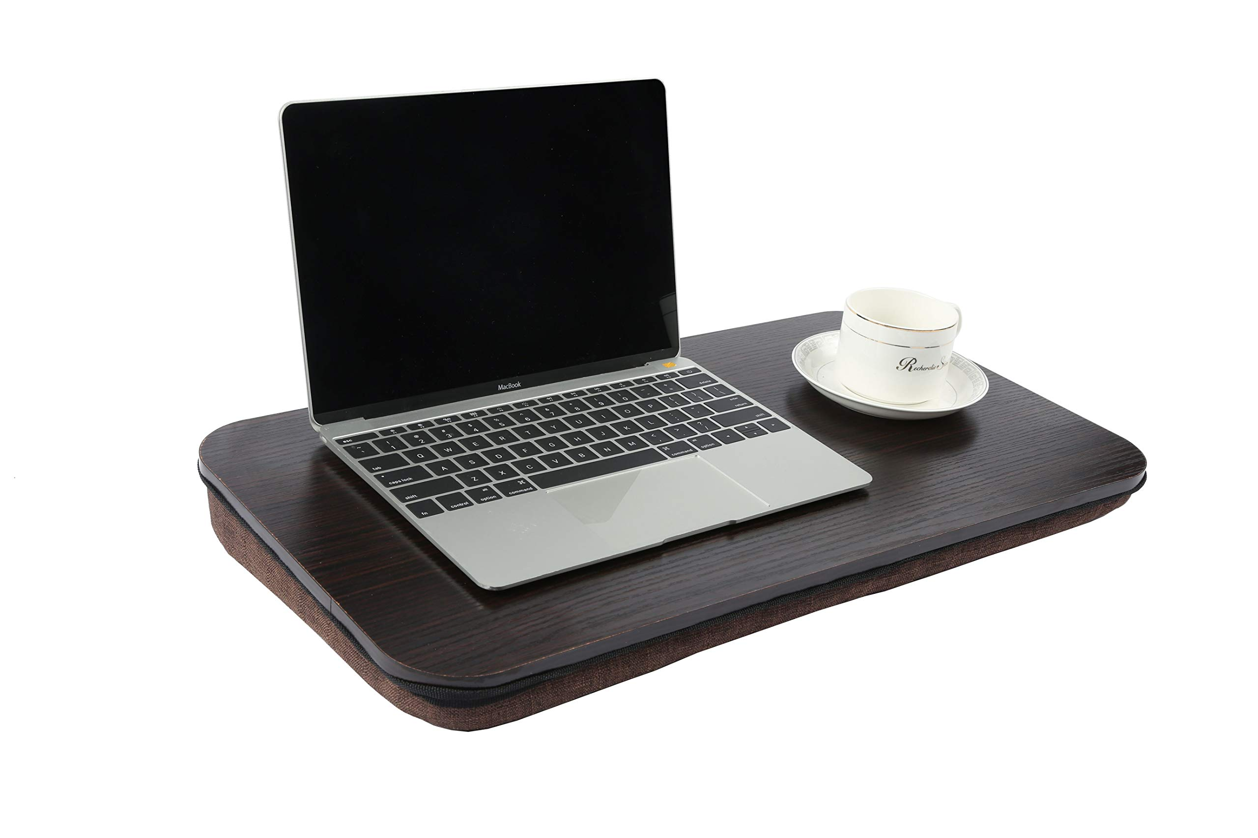 Homebi Lap Desk Knee Laptop Table Wood Book Stand Lightweight Food Serving Tray Perfect for Bed Couch Chair and Sofa with Foam-Cushioned Bottom and Built-in Handle in Black Oak,22.05''Wx12''Dx2.76''H