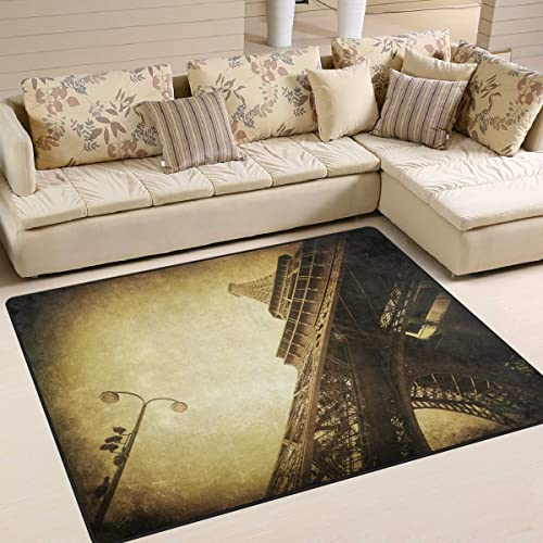 ALAZA Vintage Paris Eiffel Tower France Street Landmark Area Rug Rugs