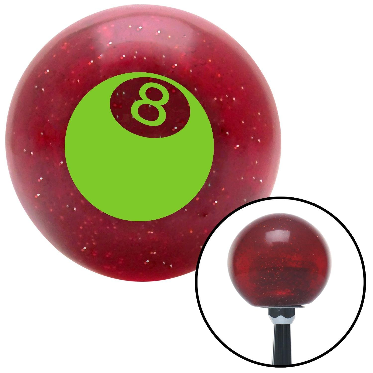 Green 3D 8 Ball American Shifter 46486 Red Metal Flake Shift Knob with 16mm x 1.5 Insert