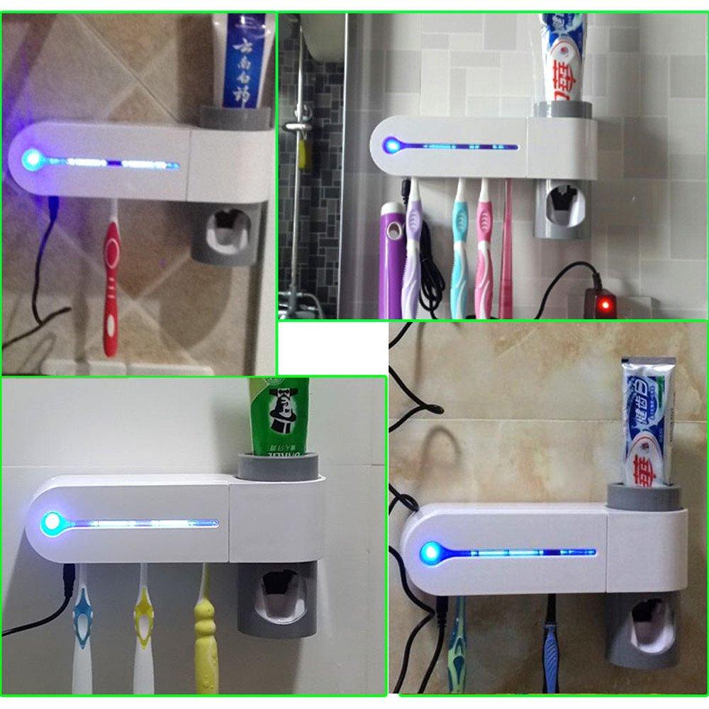 ProttyLife Automatic toothpaste dispenser -2 in I UV Light Ultraviolet Toothbrush Sterilizer Toothbrush Holder Automatic Toothpaste Dispenser + 5 Holders Bathroom Set