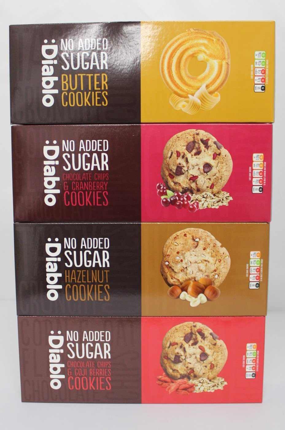 Diablo No Added Sugar Variety Cookies Pack Containing Butter Cookies 135gchocolate Chips And Cranberry 135gchocolate Chips And Goji Berries 135g