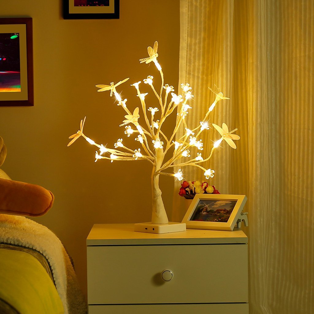 Finether Table Lamp Adjustable Dragonfly and Cherry Flower Desk Lamp |1.47 ft Tree Light for Wedding Living Room Bedroom Party Home Decor with 36 Warm White LED Lights|Two Mode: USB/Battery Powered