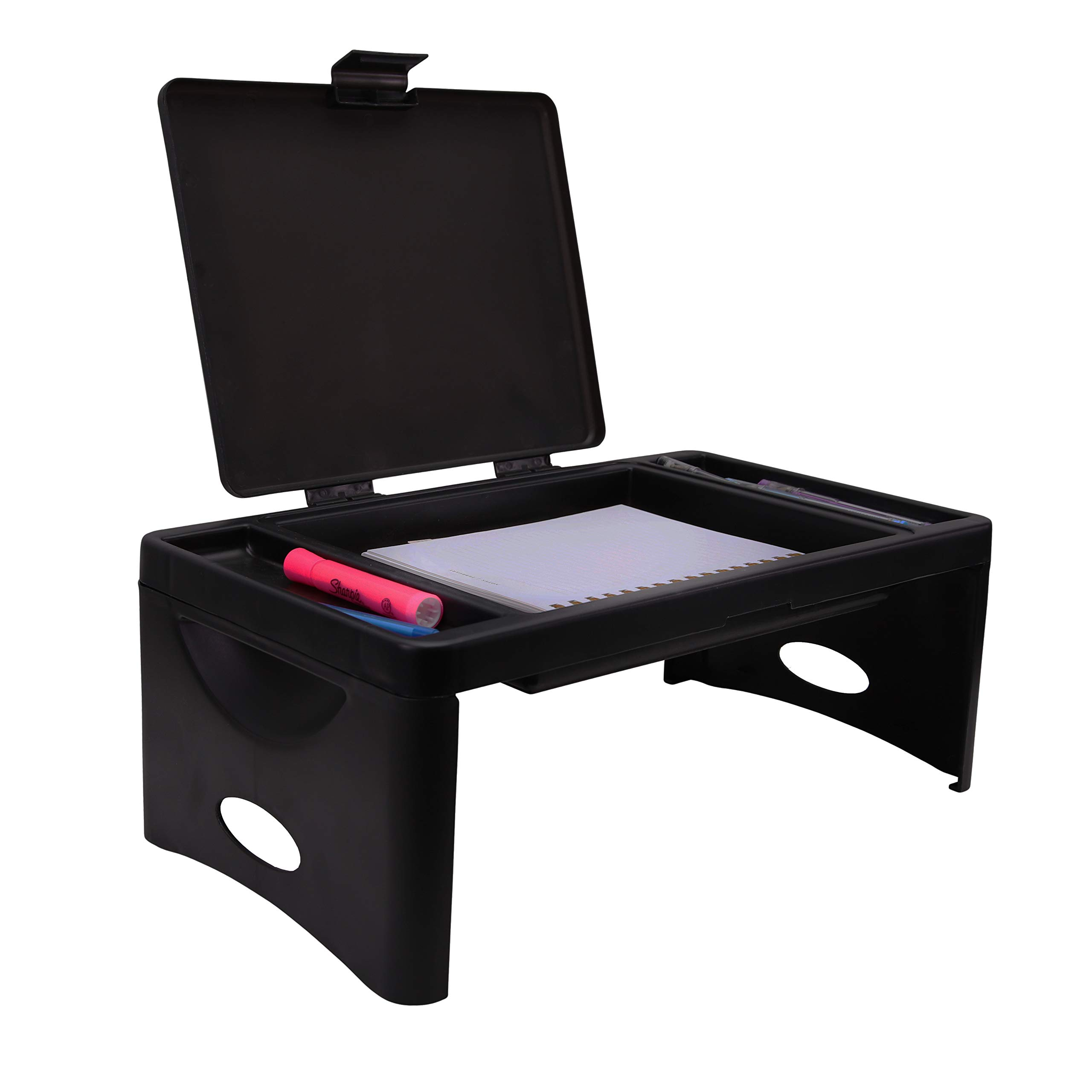 Foldable Lap Desk with Storage Pocket   Perfect use for Laptops, Travel, Breakfast in Bed, Gaming and Much More!