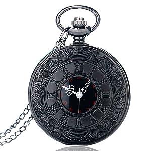 3a9a0483a01f BestFire Pocket Watch Black Roman Retro Vintage Quartz Pocket Watch Roman  Numerals Steampunk Fob Watch