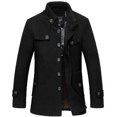 Sulandy @ Men's Winter Warm Soft Wool Blend Pea Coats Slim Fit¡ at ...