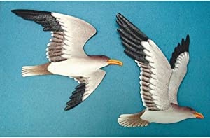 TG,LLC Treasure Gurus 2 Metal Seagull Wall Plaques~Flying Shore Birds Nautical Decor
