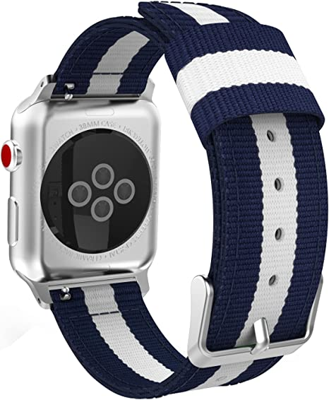 MoKo Compatible Band Replacement for Apple Watch 38mm 40mm Series 5/4/3/2/1, Fine Woven Nylon Adjustable Replacement Band Sport Strap - Blue & White ...