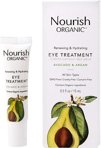 Nourish Organic Renewing Plus Cooling Eye Treatment Cream, Avocado & Argan Oil, 0.5 Oz