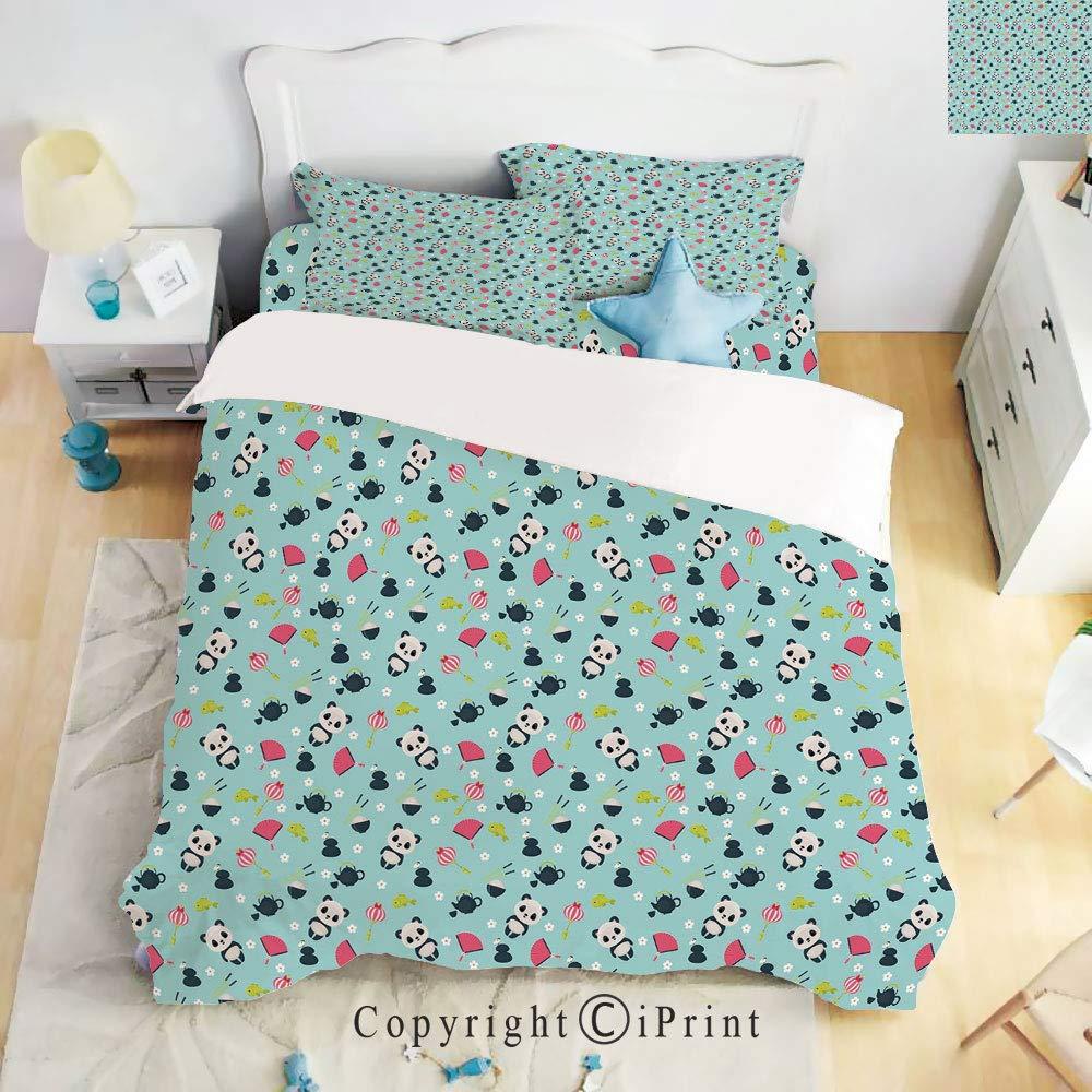 Homenon Luxury 4-Piece Bed Sheet,Hide Zipper Closure,Panda Bears Koi Fishes Chopsticks Tea and Ricebowl Japanese Far Eastern Illustration Decorative,Multicolor,King Size