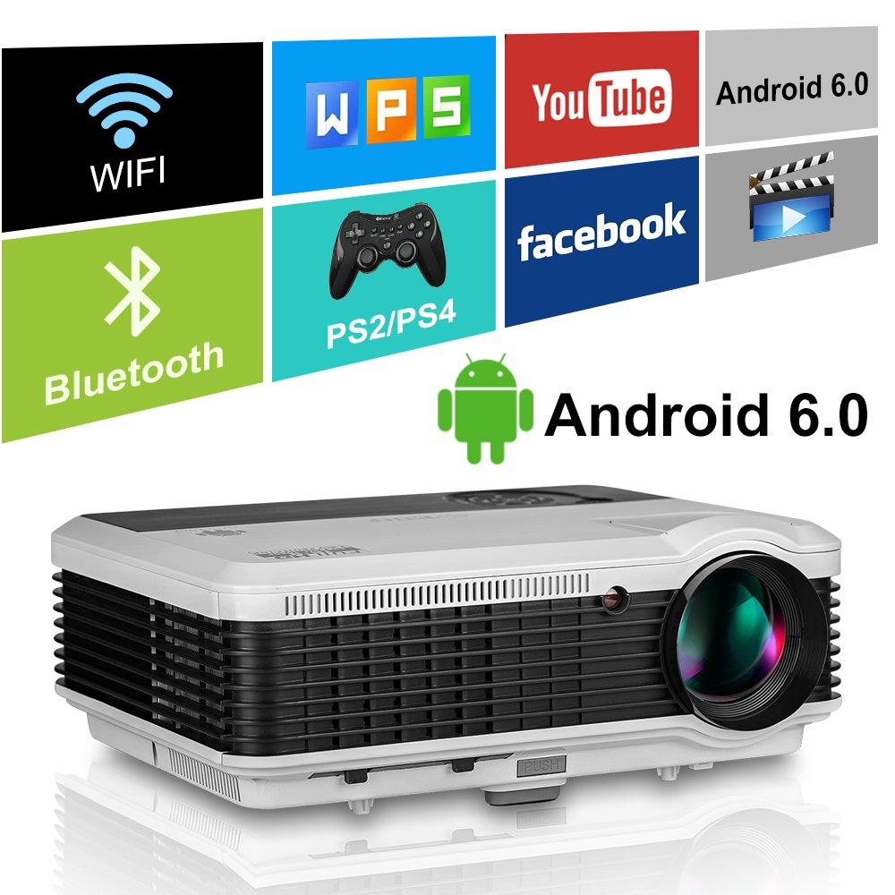 LEDプロジェクター【WiFi接続Bluetooth機能搭載 、Android6.0、家庭用 1080P】物理解像度1280*800 3900lm 最大ディスプレイ解像度 1920*1200 USB/AV/HDMI/VGA対応 ホームシアター/テレビ/ゲーム/映画/動画/ 写真/音楽/パーティーなど 【日本語説明書HDMIケーブルリモコン付きDolby対応】(ホワイト) B07JM4YJC1