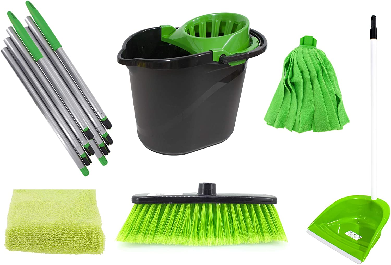 PAMEX - Set de Limpieza Verde - 2 Palos Desmontables + 1 Fregona Tiras + 1 Cubo 15L One + 1 Escoba + 1 Recogedor + 1 Paño Volumen