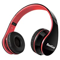 BestGot Headphones Over Ear Kids Headphones with Microphone Volume Control Lightweight Noise Isolating Headsets with Detachable 3.5mm Cable for Apple Android Smartphone Tablets Laptop (Black/Red)