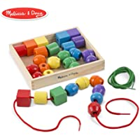 Melissa & Doug Primary Lacing Beads, Developmental Toys, Easy to Assemble, 30 Beads and 2 Laces, 3.81 cm H x 19.685 cm W x 23.495 cm L