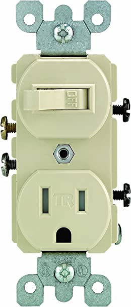 New Leviton Light Almond TAMPER RESISTANT Wall Toggle Switch Outlet 15A T5225-T