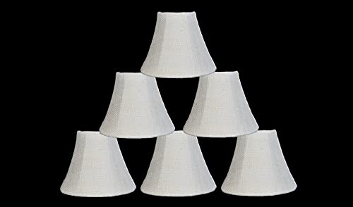 Urbanest Chandelier Lamp Shade 6-inch, Bell, Clip On, Burlap, Ivory Color Set of 6