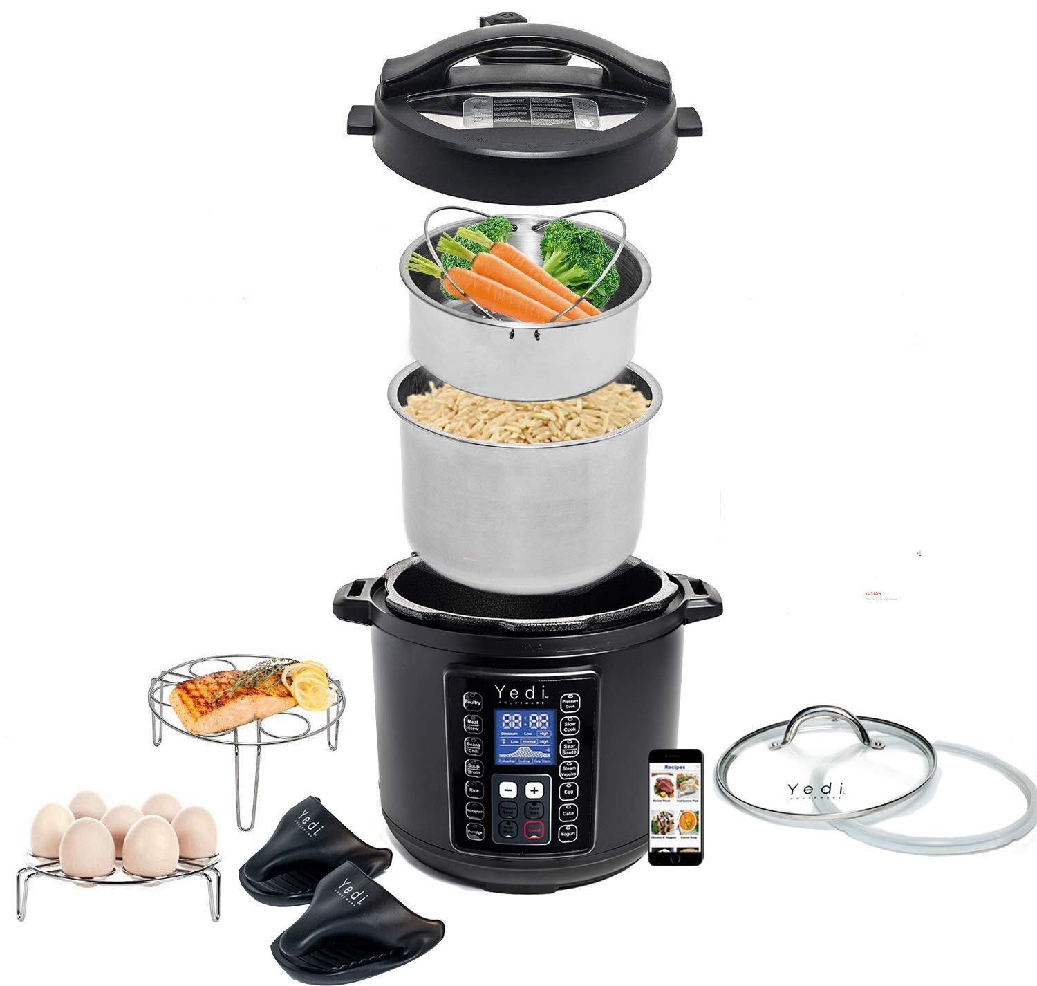Total Package 9-in-1 Black Instant Programmable Pressure Cooker, with Endless Recipes and Deluxe Accessory Kit by Yedi Houseware (6 Qt)
