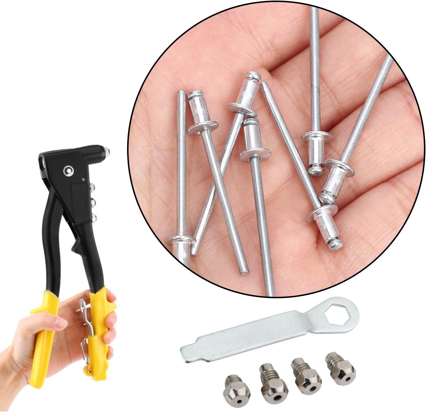 4 mm Hseamall 4 mm Kit rivettatrice a mano con 100 rivetti assortiti 2,4 mm 4 mm 4,8 mm 3,2 mm