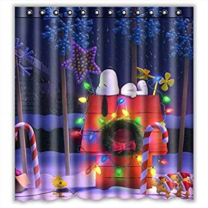 Custom Peanuts Christmas Snoopy Waterproof Bathroom Shower Curtain Polyester Fabric By QISC