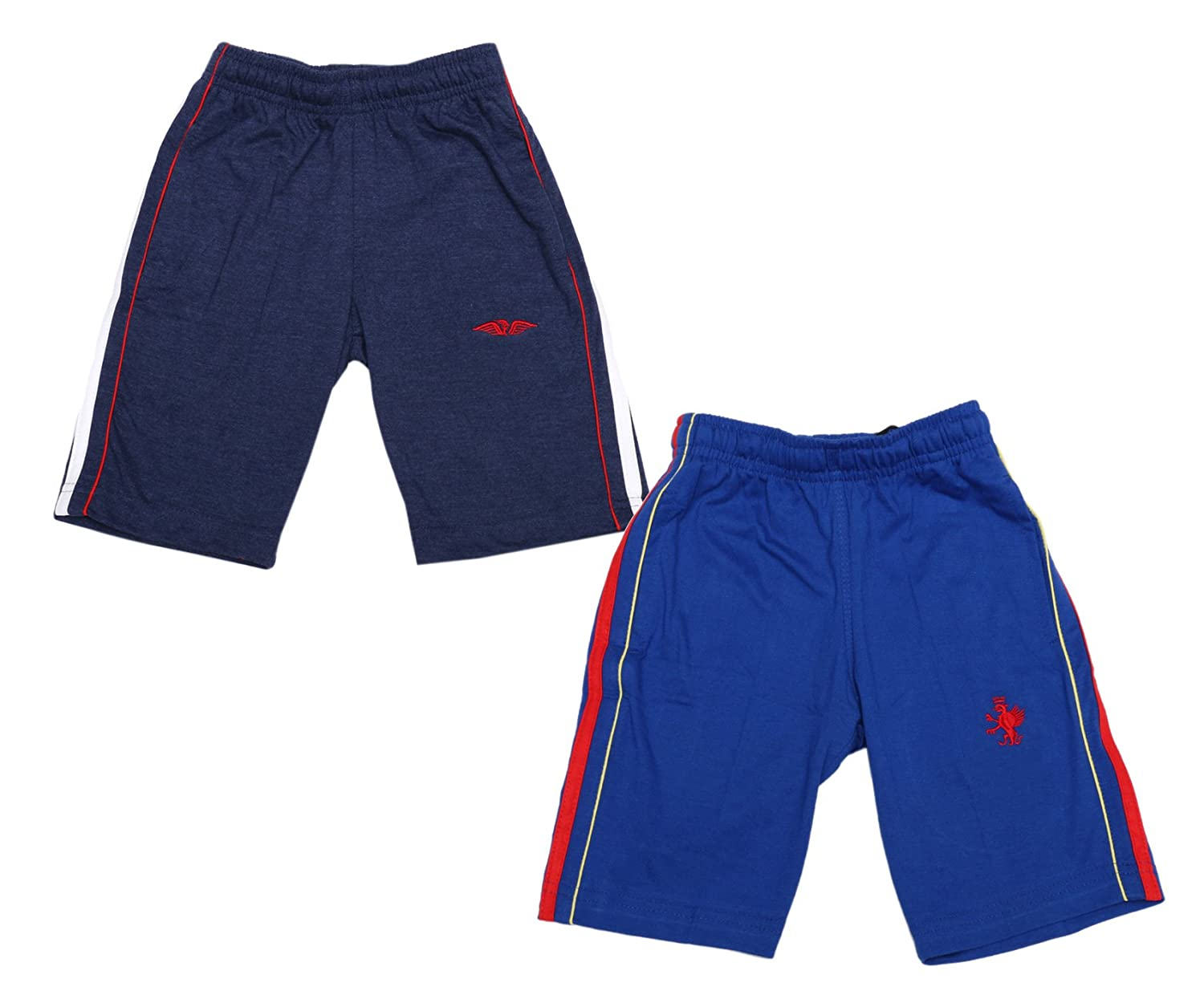 Indistar Boy Summer Wear Cotton Regular Fit Bermuda//Shorts Blue//Navy Blue Pack Of 2 Pairs