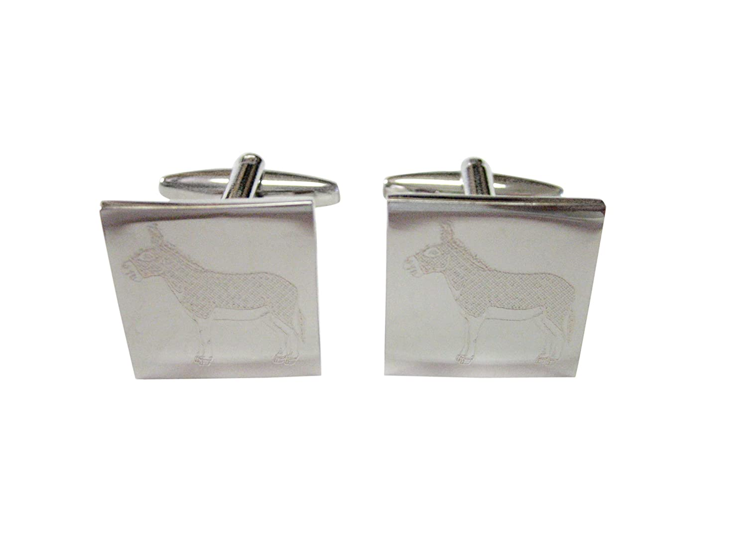 Silver Toned Etched Heart Shaped American Flag Cufflinks