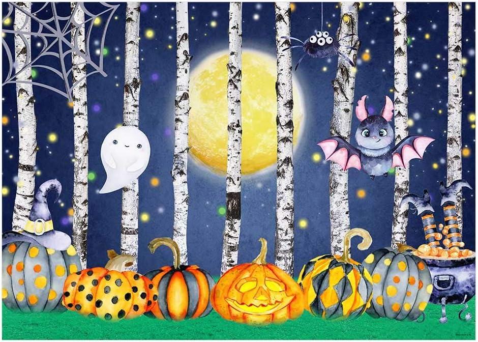 7X5ft Halloween Background Wall Drop Halloween Night Moon Carnival Photography Background Backdrop Baby Shower Photo Backdrop Creepy Castle Bat Pumpkin Lantern Halloween Photography Backdrop