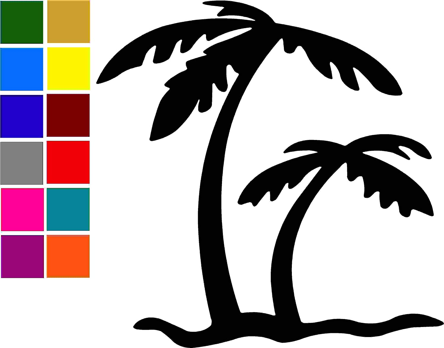 Palm Tree Design 1 Car Window Tumblers Wall Decal Sticker Vinyl Laptops Cellphones Phones Tablets Ipads Helmets Motorcycles Computer Towers V and T Gifts