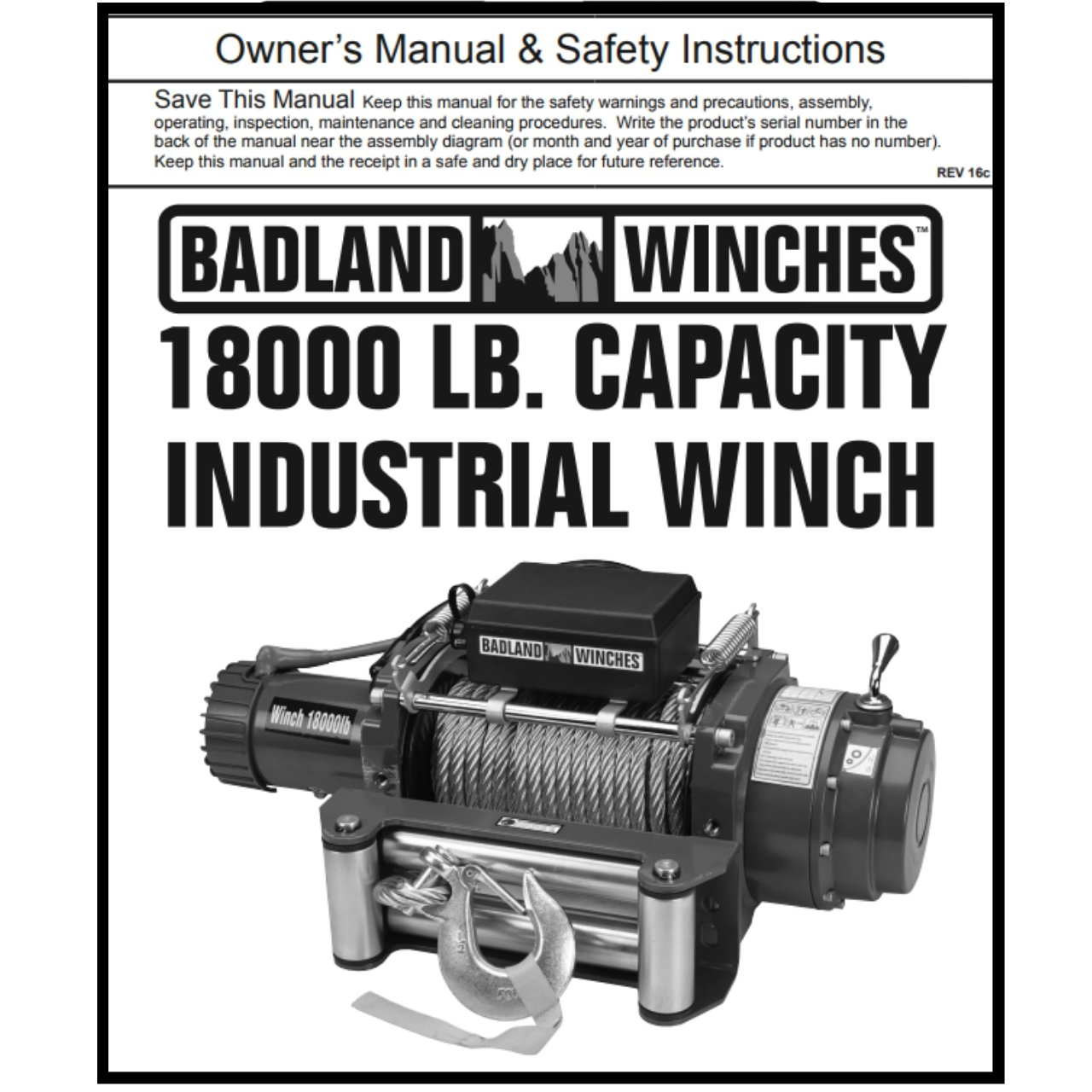 18000 Lb Industrial Tow Truck Electric Winch With Badland Winches 2000 Wiring Diagram Automatic Load Holding Brake Home Improvement