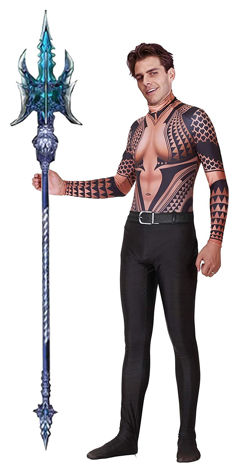 Riekinc Aquaman Spandex Bodysuit Halloween Cosplay Costume Adult/Kids 3D Style