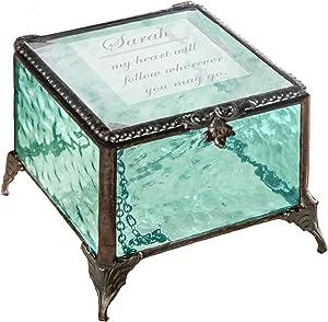 Personalized Jewelry Box Decorative Vanity Display Case Storage Organizer Keepsake Gift for Friend Daughter Sister Girl Women Vintage Decor J Devlin Box 910 EB246 (Windsor Blue)