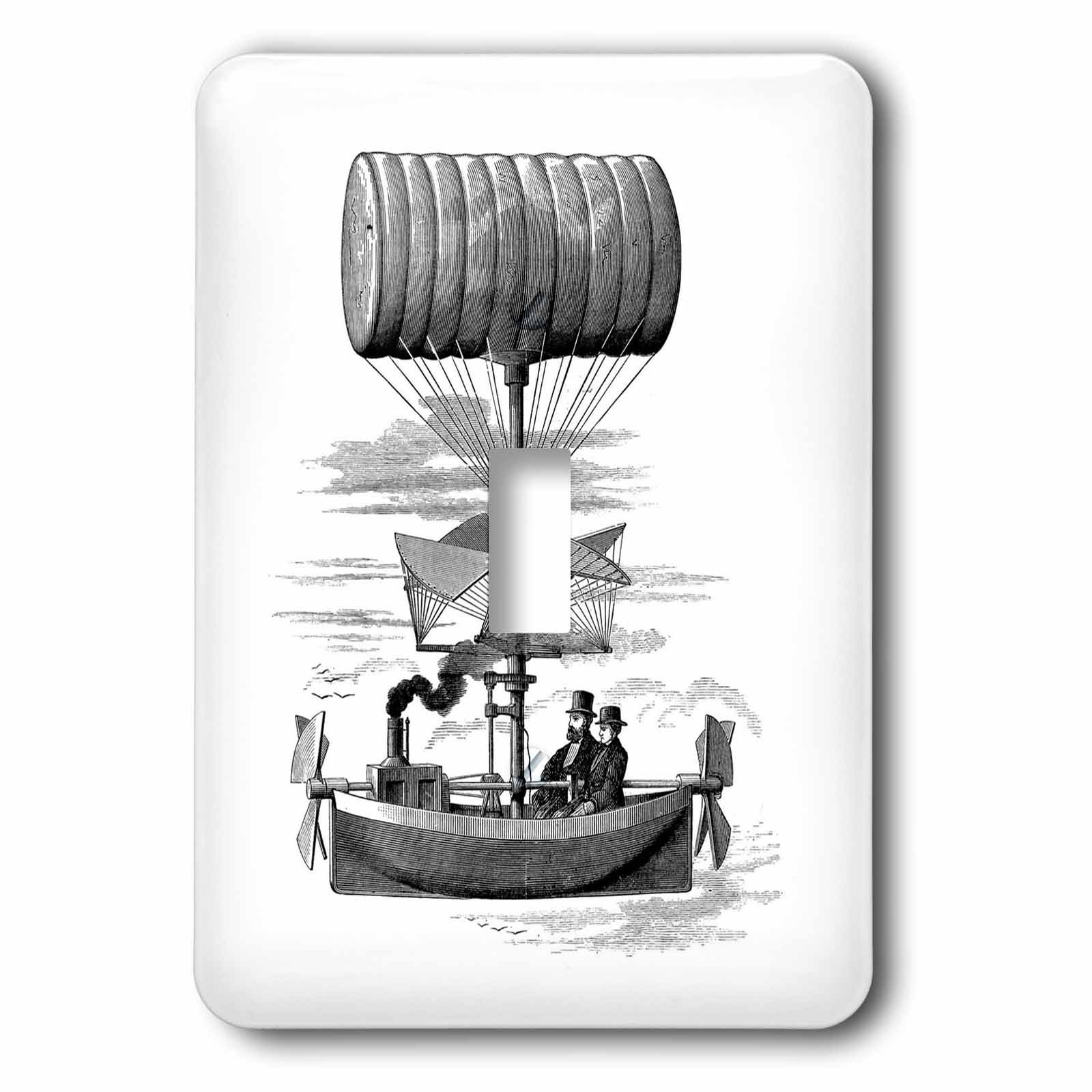 3dRose lsp_80332_1 Air Ship Drawing Steampunk Style Single Toggle Switch