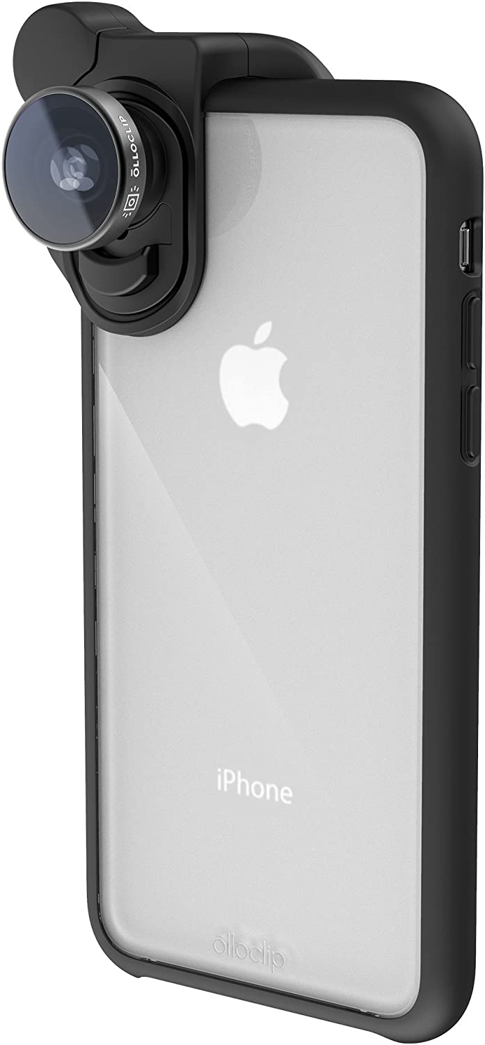 olloclip - Slim Case for iPhone X, Compatible with HD Camera Lenses and Objectives for Smartphone, Bumper with Shockproof & Drop Absorption Corners, High Protection, Clip Excluded – Transparent/Black