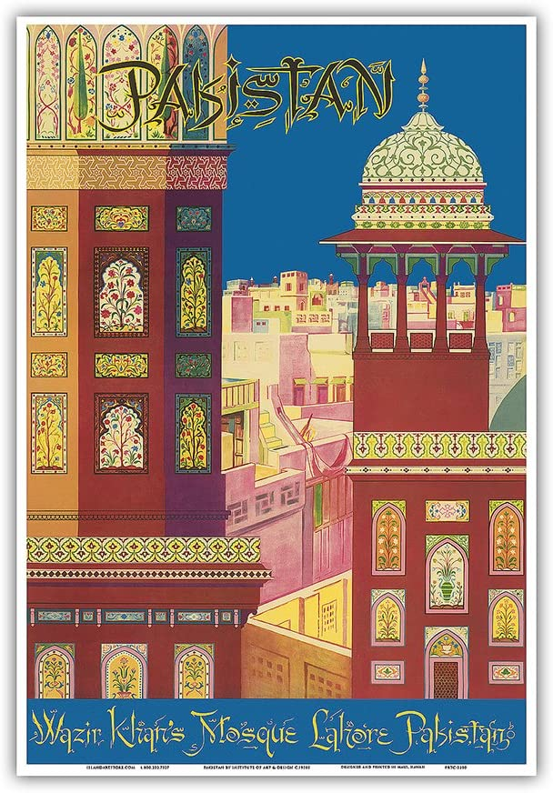 Amazon Com Pakistan Wazir Khan S Mosque Lahore Pakistan Muslim Architecture Vintage World Travel Poster By Institute Of Art Design C 1950s Master Art Print 12in X 18in Posters Prints