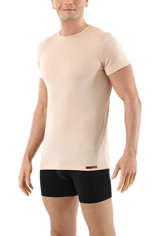 ALBERT KREUZ Camiseta Interior Invisible de Manga Corta Cuello Redondo Largo y Profondo de 100/% Lana Merino Color Piel