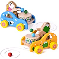 FUN LITTLE TOYS 2 Pack Toddler Toys, Wooden Pull Toys for Kids, Animal Pull-Along Toys Beating Drum, Wooden Baby Toys…
