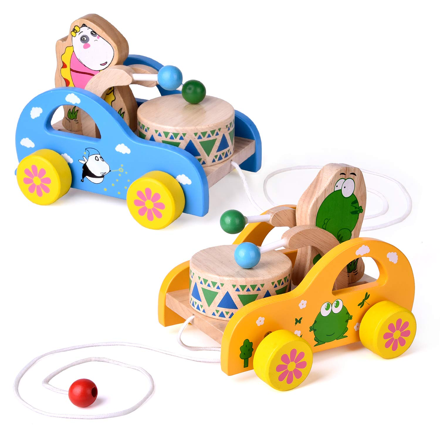 2 Pack Toddler Toys, Wooden Pull Toys for Kids, Animal Pull-Along Toys Beating Drum, Wooden Baby Toys, Gifts FUN LITTLE TOYS