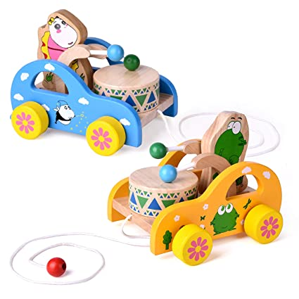 2 Pack Toddler Toys, Wooden Pull Toys for Kids, Animal Pull-Along Toys Beating Drum, Wooden Baby Toys, Gifts
