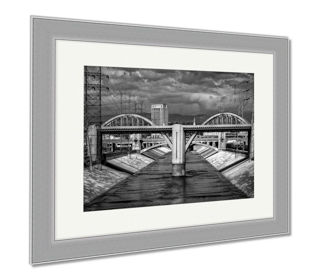 Ashley Framed Prints Sixth Street Viaduct And Los Angeles River In Black And White, Wall Art Home Decoration, Black/White, 30x35 (frame size), Silver Frame, AG6438121