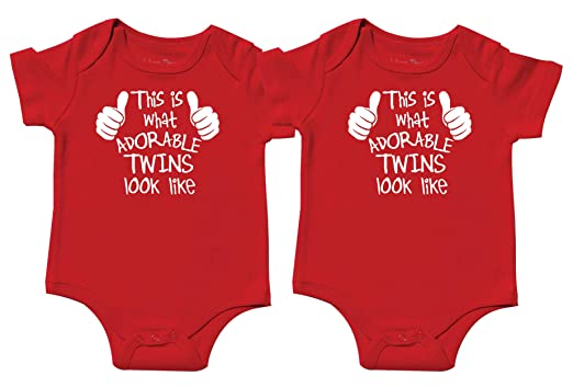 fade75ace Twin Girl and Boy Bodysuits, Includes 2 Bodysuits, 0-3 Month Adorable Twins