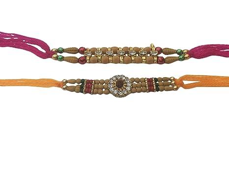 Khandekar Set of Two Rakhi Rakhi for Brother Raksha bandhan Gift for Your Brother 14 Stone Rakhi Thread Vary Color and Multi Design