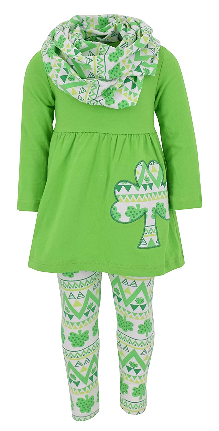Unique Baby Girls St Patricks Day Repeating Clovers Legging Set