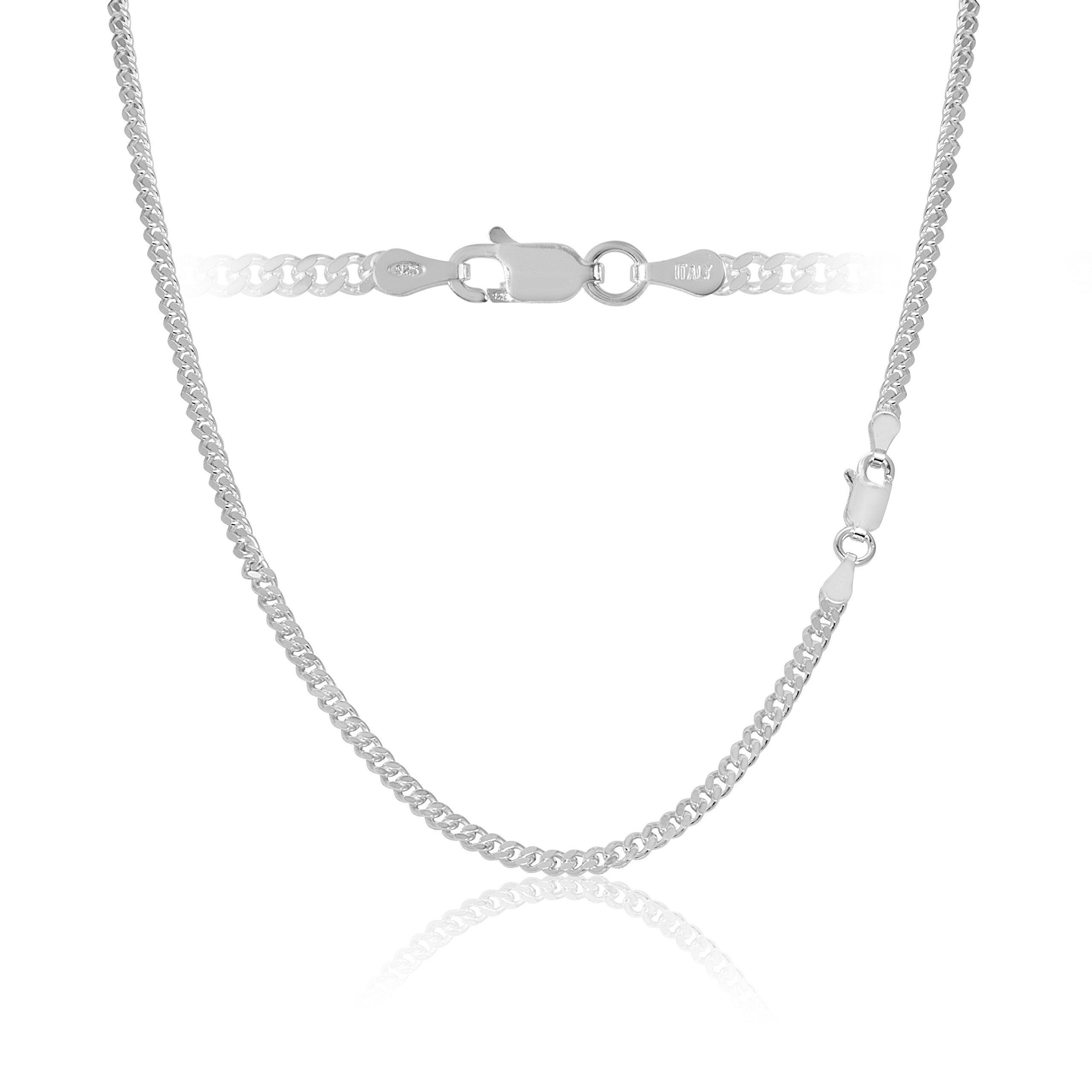 Sterling Silver Cuban Curb Link Chain Necklace Italy 3mm 36 inch