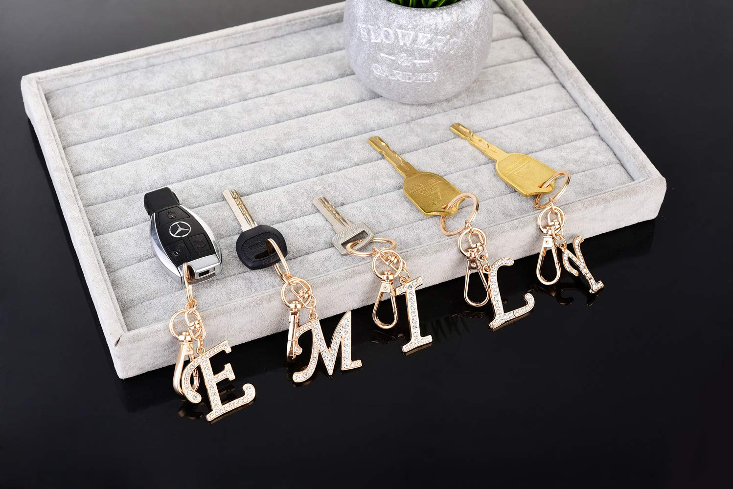 Keychain for Women AlphaAcc Purse Charms for Handbags Crystal Alphabet Initial Letter Pendant with Key Ring,Letter A