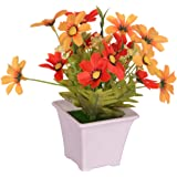 Pindia Artificial Yellow Flower Plant with Pot for Home and Office Decor (8x8x16.5, cms)