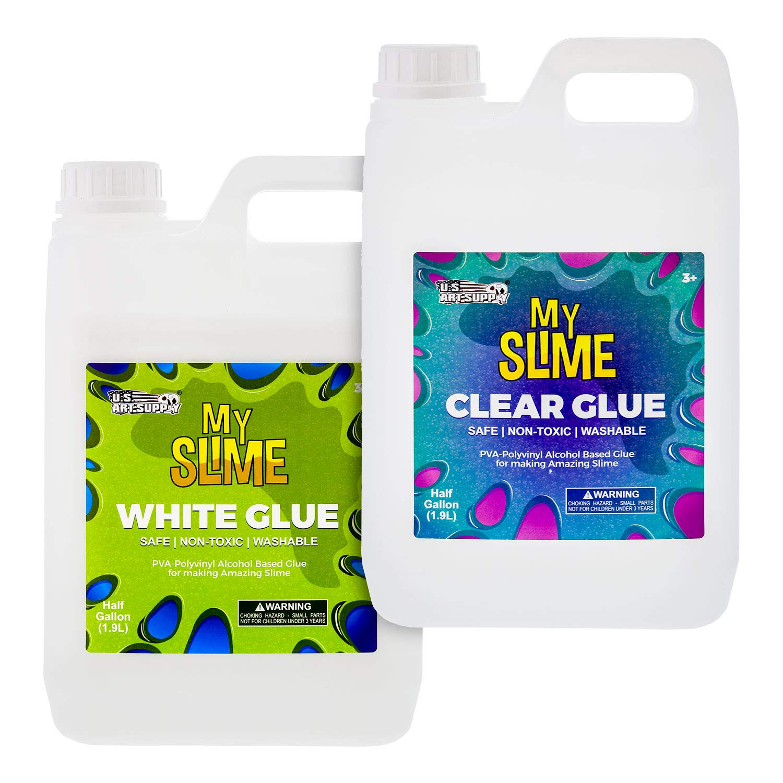 My Slime Set of Clear and White Slime Making Glue - 1/2 Gallon of Clear Glue and 1/2 Gallon of White Glue - Kid Safe, Non-Toxic, Washable - Superior Formula School Glue - Make Amazing Fun Slime Art
