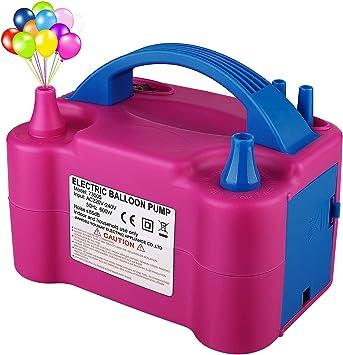 YINKUU Bomba de Globo eléctrica - Bomba de Aire de Globo Bomba portátil de inflado de Alta Potencia de Doble Boquilla Modos de operación Dual para Fiestas de cumpleaños Fiesta de Bodas