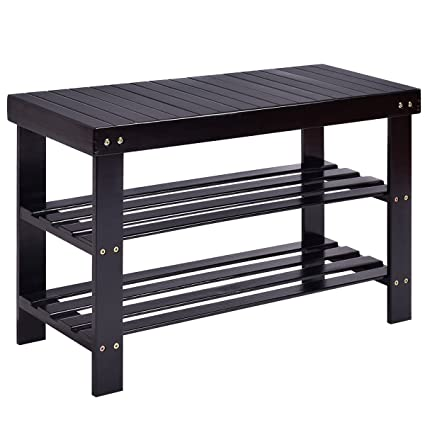 black shoe rack Amazon.com: Costway Shoe Rack Bench 3 tier Bamboo Shelf Flat  black shoe rack