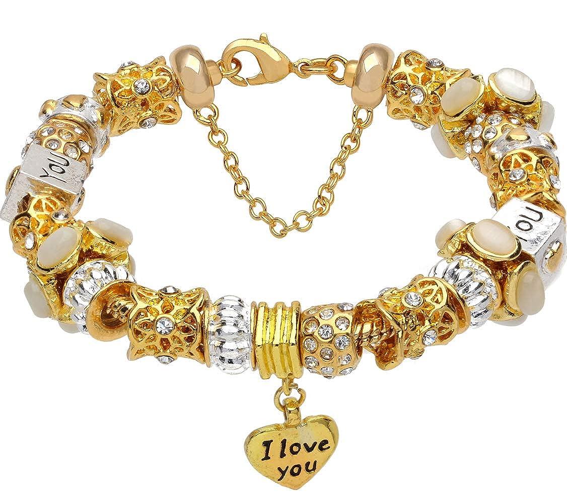 White crystal beads I LOVE YOU heart pendant gold-tone charm complete beaded bracelet ALOV Jewelry AM34