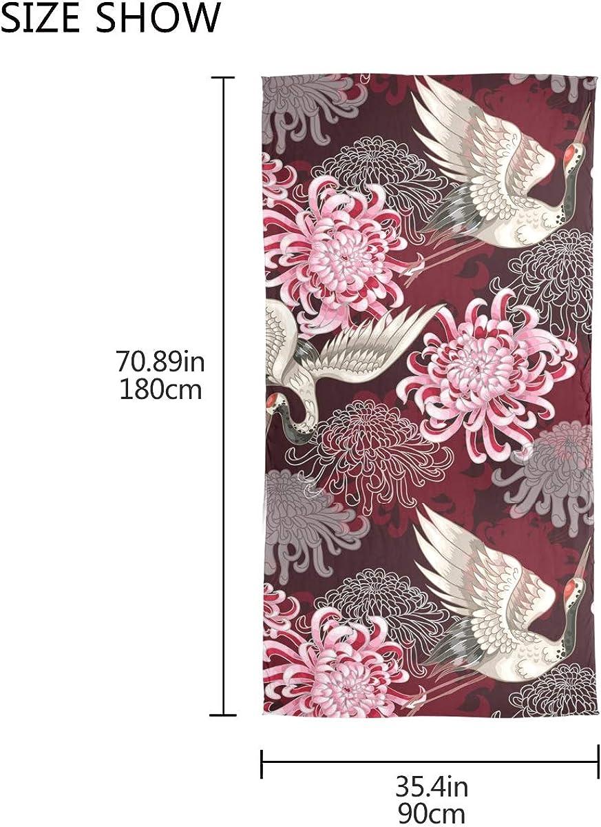 Silenziatore Stile giapponese Seamless Pattern Uccello Fiore Gru avvolgere Scialle Fazzoletto Scialle Sciarpa di seta Chiffon